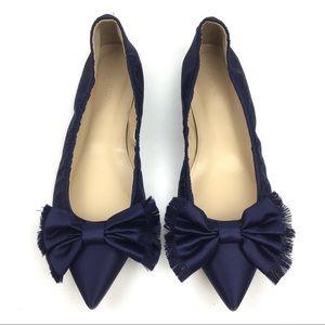 J. Crew lottie bow flats satin blue ballet